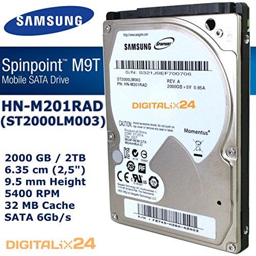 """Festplatte 2000 GB (2 TB - 6,35 cm (2,5"""") - 9,5mm Bauhöhe - 5400 U/min - SATA 6Gb/s - 32 MB Cache) SAMSUNG HN-M201RAD interne SATA"""