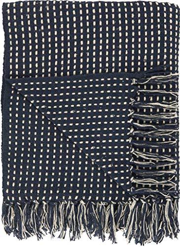 IB Laursen - Plaid, Decke, Tagesdecke - mitternachtsblau/Creme - Baumwolle - 160 x 130 cm