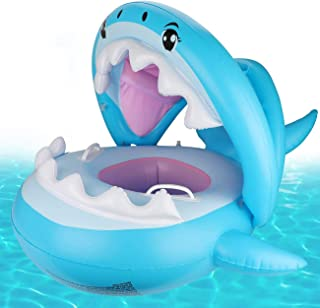 CharmCollection Baby Pool Float Swimming Floats Inflatable Shark Baby Floatie with Canopy for Infant Toddler Kid (6-36 Months) (Blue)