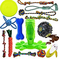 SUPER VALUE SETS FOR ALL OCCASIONS: 14 pack pet toys for dogs, contains 9 COTTON TUG ROPE DOG TOYS, IQ TREAT BALL, RUBBER DOG TOOTHBRUSH STICK, BANANA DOG TOY, RUBBER BONE and FRISBEE. Great value for amount of cute dog toys you get which meet differ...