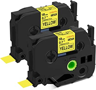 Replace Ptouch TZe-641 Black on Yellow 18mm 3/4 Tape TZe641 TZ-641 TZ641 Standard Laminated Label Tape Compatible with Brother P touch PT-1890 PT-D600 PT-P700 PT-520 Label Maker, 0.7 Inch x 26.2 Feet