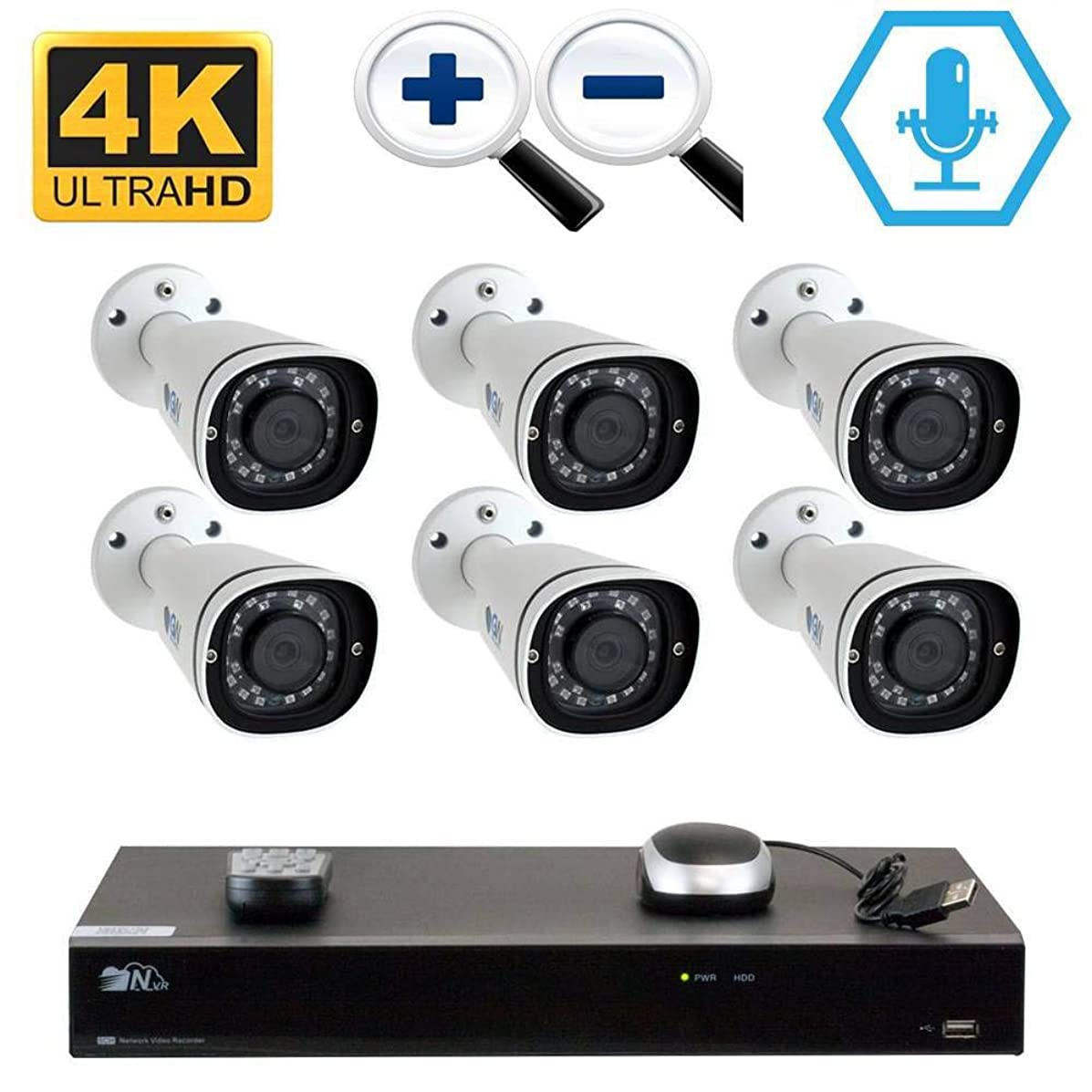 GW 8CH H.265 PoE NVR Ultra-HD 4K (3840x2160) Video & Audio Security Camera System with 6 x 4K (8MP) Microphone 3X Motorized Zoom IP Bullet Camera, 100ft Night Vision, 4TB HDD