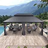 PURPLE LEAF 12' X 20' Permanent Hardtop Gazebo Aluminum Gazebo with Galvanized Steel Double Roof for Patio Lawn and Garden, Curtains and Netting Included, Grey