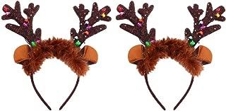 Minkissy 2pcs LED Christmas Headband Reindeer Antler Headbands Hair Hoop For Kids Adults Party Props
