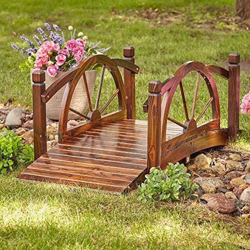 Kotulas Wagon Wheel Wood Garden Bridge — 5ft.