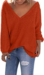 Loosebee◕‿◕ Women Soft V-Neck Pullover Sweater Solid Long Sleeve Loose T-Shirt Tops Knitting Sweater Blouse