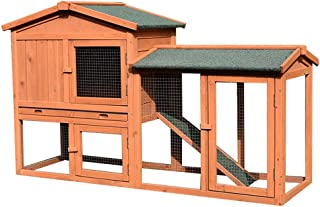 Rabbit Hutch Guinea Pig Hutch Outdoor Double-Layer Rainproof Sunscreen Solid Wood Rabbit Cage Fenced Pet House Domestic Farmed Pet Cage (Color : Brown, Size : 138 * 43.5 * 86cm)