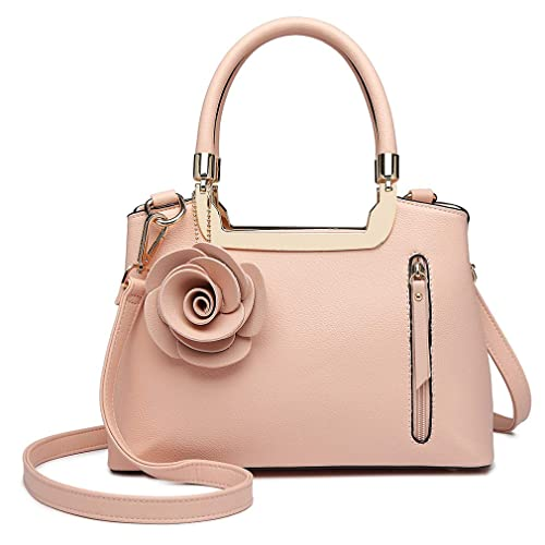 606bd2c4ab68 Miss Lulu Women Elegant Top Handle Bag Small Trend Shoulder Bag Pu Leather  Flower Charm Structured