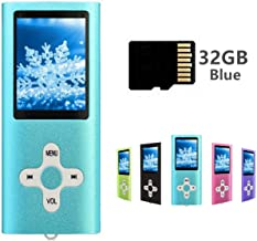 $27 Get MP3 Player MP4 Player with a 32GB Micro SD Card, Runying Portable Music Player Support up to 64GB, Mini USB Port 1.8 LCD, with Photo Viewer, E-Book Reader, Voice Recorder & FM Radio Video (32GB Blue)