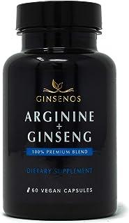 Arginine + Panax Ginseng - 60 Vegan Capsules - 100% Premium Blend Combines Korean Red Ginseng and L-Arginine - Extra Strength Pills - Improves Energy, Performance, Heart Health, Stamina by Ginsenos