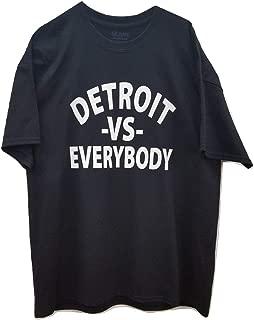 Gildan Detroit -VS- Everybody White Logo ON Most Popular Brand ONLY Black T/Shirt
