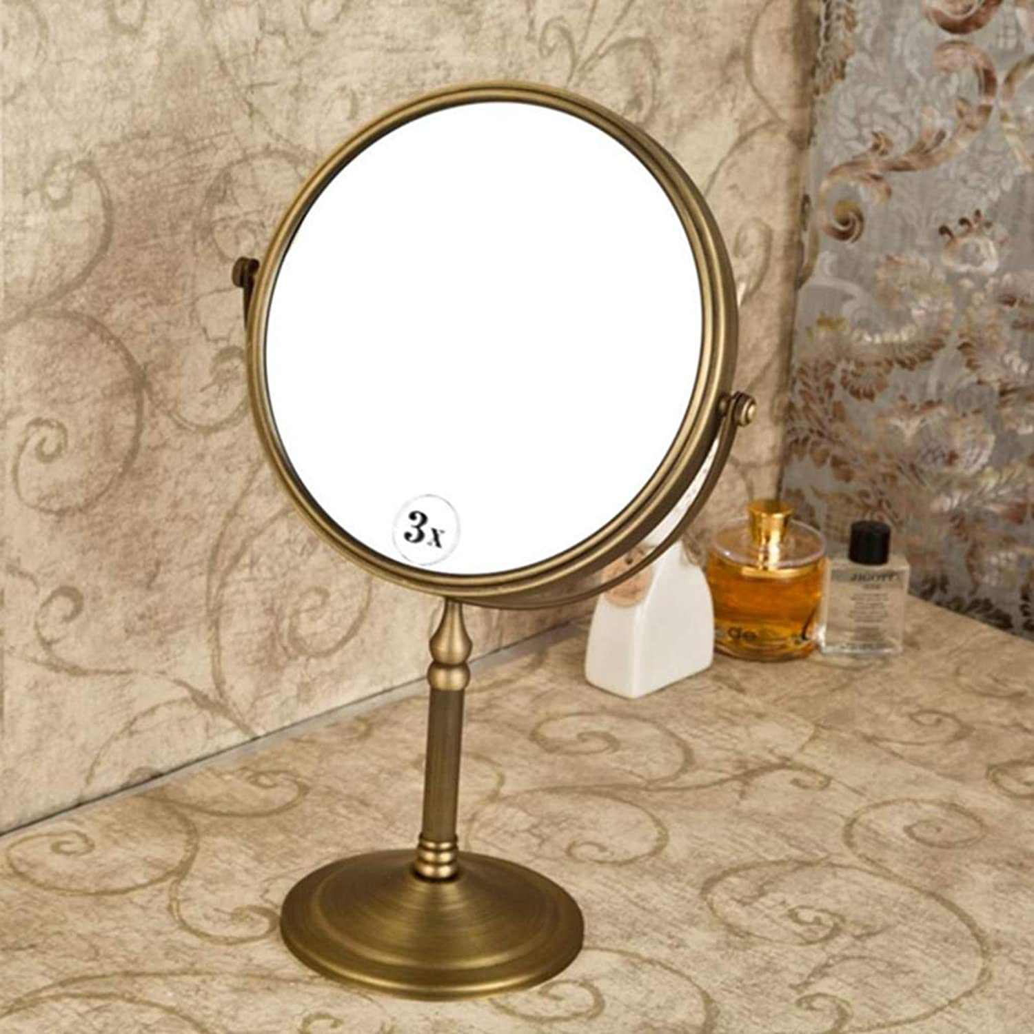 LUDSUY 8 Inch Tabletop Two Sided 360 Degree Swivel Mirror Antique Brass,Personal Make Up Round Mirrors Classic redatable