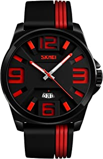 TONSHEN Mens Simple Design Analog Quartz Fashion Watch Stainless Steel Case and Rubber Band Date Wristwatch (Red)
