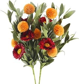 HUAESIN Artificial Flowers 2pcs Gerbera Daisies Silk Flowers Realistic Fake Mum Flowers Chrysanthenum Bouquet for Home Autumn Fall Wedding Party Decor