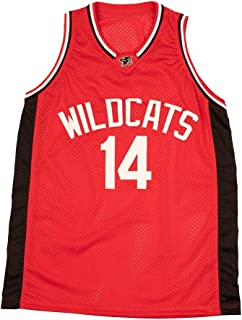 Boriz Zac E Troy Bolton 14 East High School Wildcats Red Patch Basketball Jersey Tanks Stich