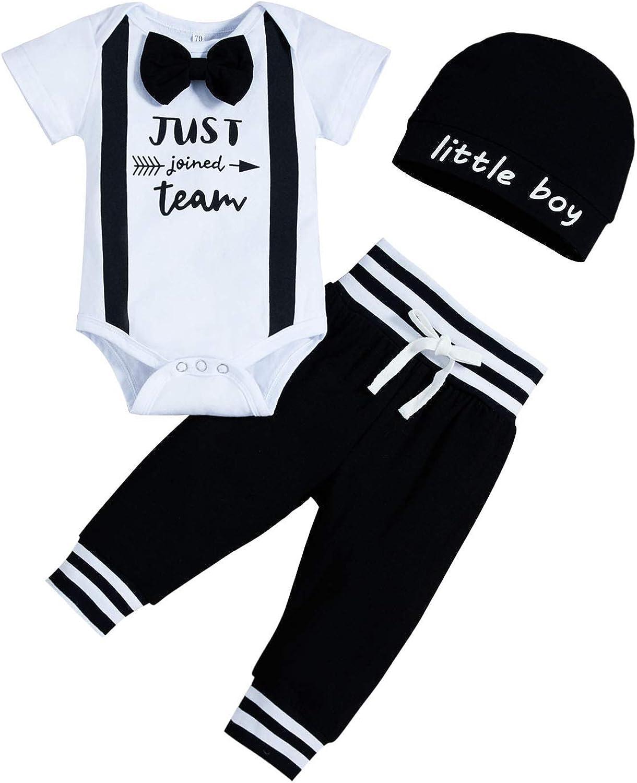 Newborn Baby Boy Little Brother Pant Set Romper Shirt+Long Pants+Hat Bodysuit Summer Clothes