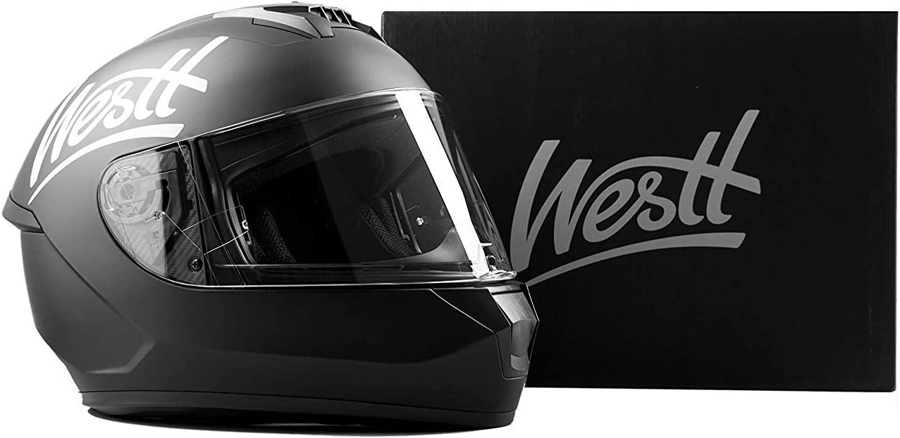 Full Face Motorcycle Helmet with Dual Visor DOT Approved/… Westt Storm X