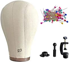 """JGMI 22"""" 23"""" Canvas Wig Head Wig Head Cork Canvas Block Head Mannequin Head Wig with Clamp Stand and 100Pcs Pins (23"""")"""