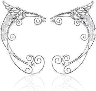 Elf Ear Cuffs, Handmade Clip-on Earrings - Pearl Wing Tassel Filigree Elven Earrings for Women - Fantasy Fairy Halloween Costume, Cosplay, Wedding, Handcraft
