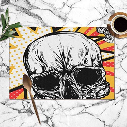 surce Skeletons Schedel Pop Art Vintage Stijl De kunst Anatomie Wasbare Placemats Voor Eettafel Dubbele Stof afdrukken Polyester Plaats Matten Voor Keuken Tafel Set Van 6 Tafelmat 12x18 Inch