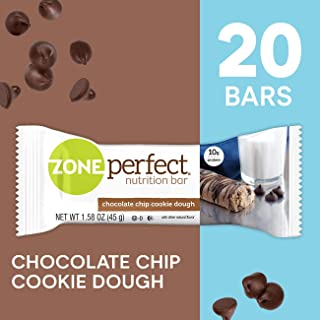 Zoneperfect Protein Bars, Chocolate Chip Cookie Dough, High Protein, with Vitamins & Minerals (20Count)