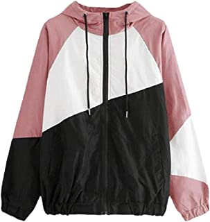 Women's Drawstring Long Sleeve Color Block Hooded Windbreaker Jacket