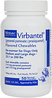 Virbantel Flavored Chewable Tablets - Dewormer for Dogs - Pyrantel Pamoate/Praziquantel - Effective Against Roundworms, Hookworms, Tapeworms (25-200Lbs - 114 mg), White