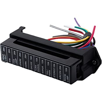 Docooler 12 Way DC32V Circuit Blade Fuse Box Fuse Block Fuse Holder ATC ATO 2-input 12-ouput Wire for Bus Ship Tanker Trailer Car Coat Auto