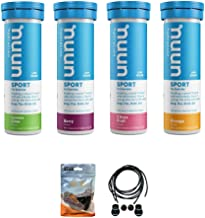 Nuun Sport Hydration Tablets – 4 Tubes of Electrolyte Tabs 40 Total Tablets Bundled with A Pack of Elastic No-tie Reflective Shoe Laces Lemon Lime Berry Citrus Orange Estimated Price : £ 29,95
