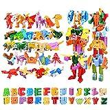 26 Piezas Bots Juguetes, deformación Robot para niños Puzzle Alfabeto Animal montado,Montaje...
