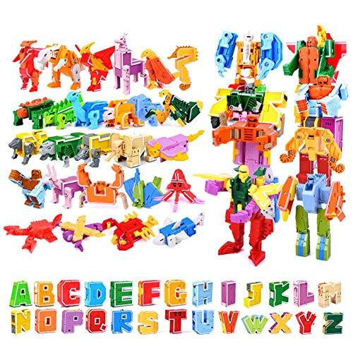 26 Piezas Bots Juguetes, deformación Robot para niños Puzzle Alfabeto Animal montado,Montaje creativo de Juguetes, Bloques de construcción, Letras, Juguetes de dinosaurios, Montaje de juguetes
