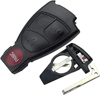 4 Butoons Replacement Remote Car Key Fob Cover Case Shell for Mercedes Benz E C R CL GL SL CLK SLK AMG Class Soft with Battery Cover and Blade for IYZ3312 No Chips