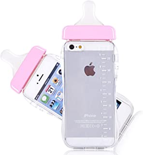 Generic Baby Bottle Cute 3D TPU Soft Milk Bottle Clear Case Lanyard Case Cover for iPhone 5/5s (Pink)