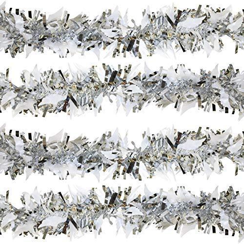 por Robelli - Espumillón de Plata para árbol de Navidad con alas de ángel Blancas