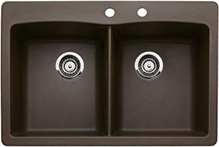 Blanco 440218-2 Diamond 2-Hole Double-Basin Drop-In or Undermount Granite Kitchen Sink, Cafe Brown