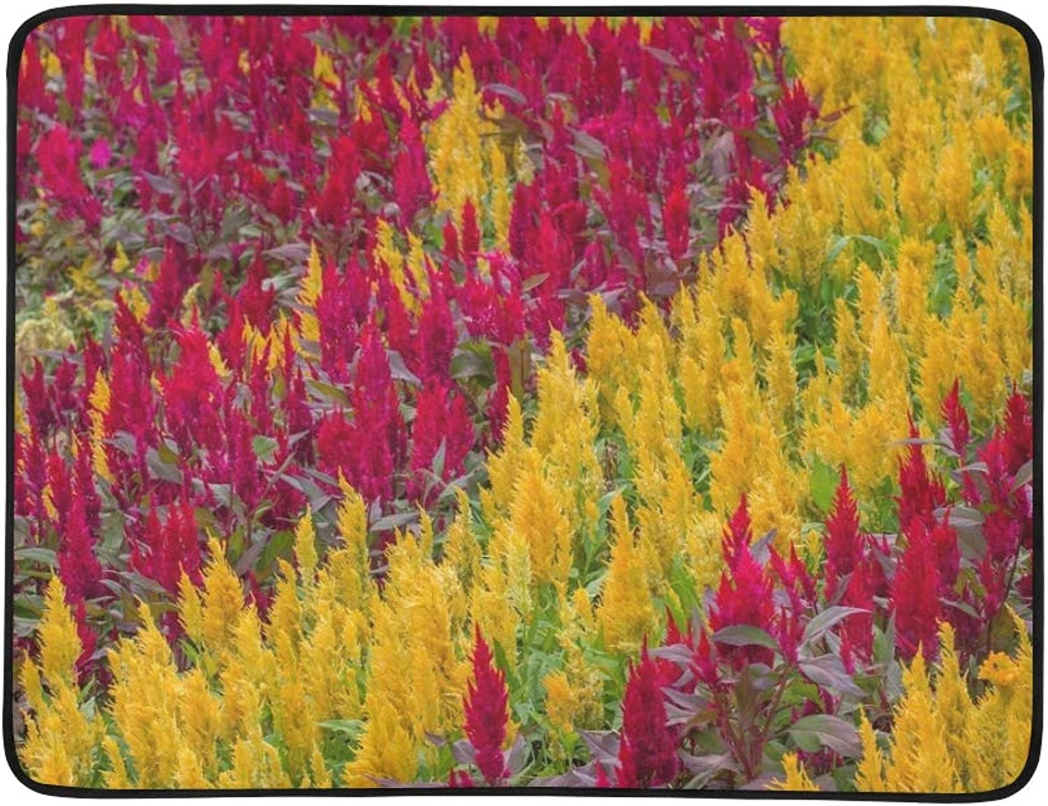 Plumped Celosia Flower Portable and Foldable Blanket Mat 60x78 Inch Handy Mat for Camping Picnic Beach Indoor Outdoor Travel
