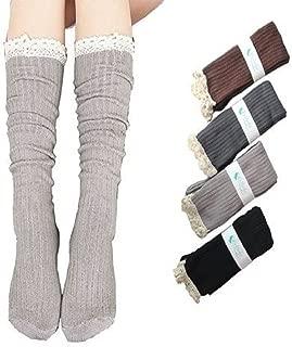 Losuya® 4 Pack Women Lace Trim Cotton Knit Footed Leg Boot Knee High Stocking