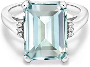 Gem Stone King 925 Sterling Silver Sky Blue Simulated Aquamarine Women's Ring (6.71 Ct Emerald Cut, Available in size 5, 6, 7, 8, 9)