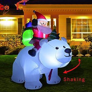 2M Riding Polar Bear Santa Claus, Inflable De Pie Santa Doll Decoración Cabeza Muñeca Inflable para Navidad Patio Jardín Al Aire Libre Vacaciones Patio Decoraciones
