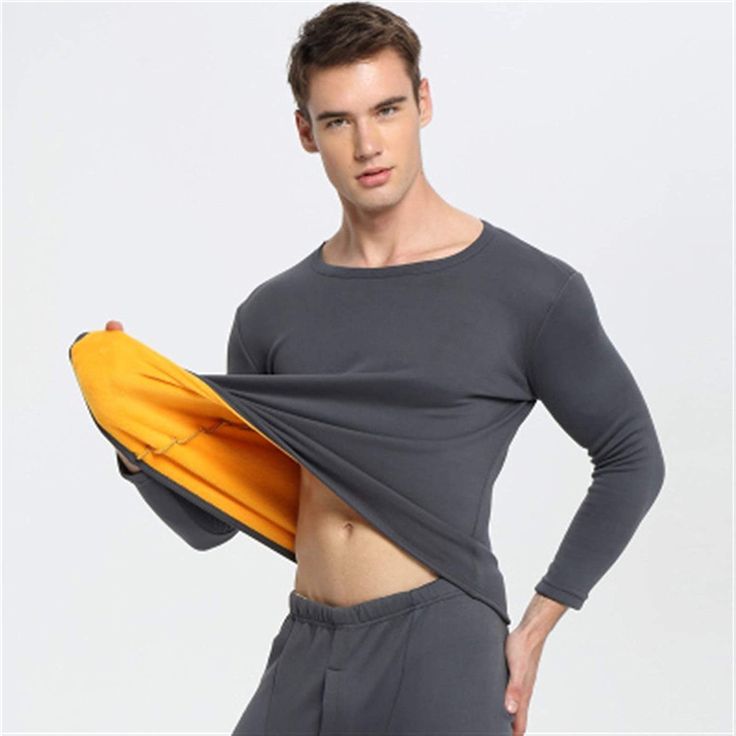 ZHANGZEHONG Thermal Underwear Men Winter Women Long Johns Sets Fleece Keep Warm in Cold Weather Size L to 6XL (Color : Deep Gray, Size : XXL)