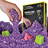 NATIONAL GEOGRAPHIC Sparkling Play Sand - 2 LBS of Shimmering Sand with Castle Molds and Tray (Purple) - A Kinetic Sensory Activity