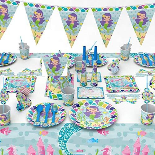 Verjaardagsdecoratie voor kinderen, Mermaid set cartoon bestek Pokemon – borden, servetten, tafelkleden, unisex, partydecoratie verjaardagsset Blauw