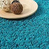 VIMODA Prime Shaggy Teppich Farbe Türkis Hochflor Langflor Teppiche Modern, Maße:160x220 cm - 2