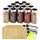 SWOMMOLY 14 Glass Spice Jars with 268 Spice Labels, Chalk Marker and Funnel Complete Set....