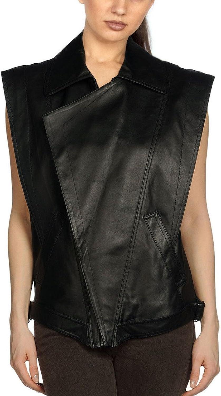 Fadcloset Ladies Molina Sleeveless Leather Jacket