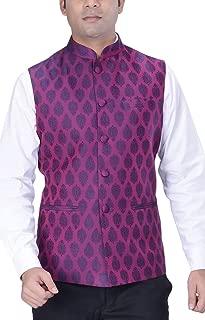 Men's Indian Woven Cotton Silk Nehru Jacket for Wedding & Festive Season