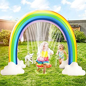 DG-Direct Outdoor Rainbow Sprinkler Outside Water Inflatable Sprinkler Toy for Children Infants Boys Girls and Kids Rainbow Inflatable Water Slides Fun Park Toys Perfect for Backyard Lawn Beach