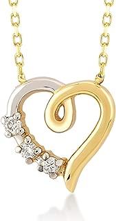 Gelin 14k Solid Gold 0,03 ct Diamond Simple Heart Necklace | Certified Diamond Heart Necklace for Women