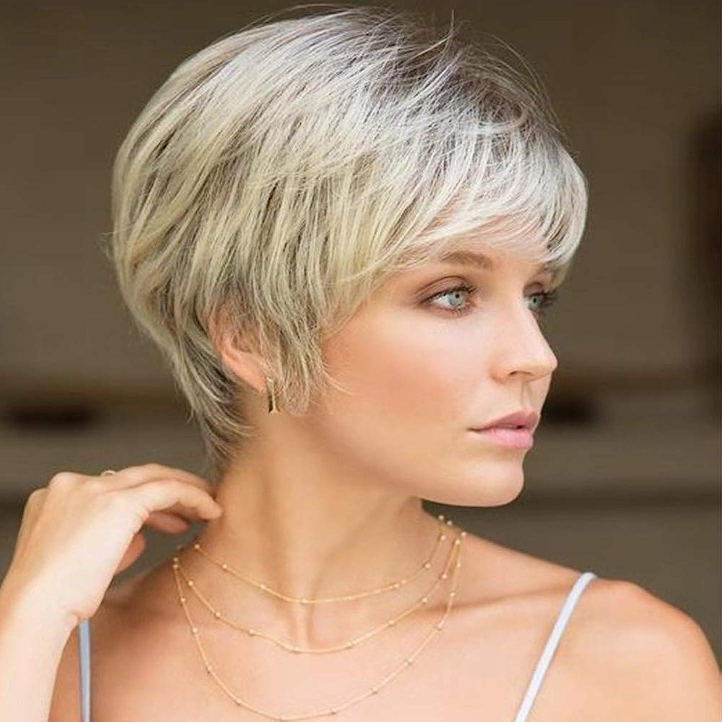 適応エトナ山実施する女性用ライトブロンドショートカーリーヘアウィッグ自然髪ウィッグ前髪付き合成フルヘアウィッグ女性と女の子用ハロウィンコスプレパーティーウィッグ