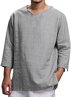 blusas hombre manga larga Moda simple Camiseta para hombre con mangas largas tallas grandes Camisa de algodón y lino de color sólido para hombre transpirable y cómodo Camiseta casual para hombre
